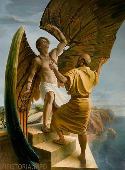 Дедал и Икар - рисунок на mifistoria.info