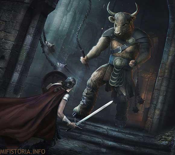Минотавр и Тесей - изображение на mifistoria.info