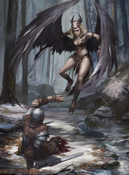 Викинги и гарпия - рисунок на mifistoria.info