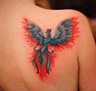 Огненная птица на лопатке, тату - фото на mifistoria.info