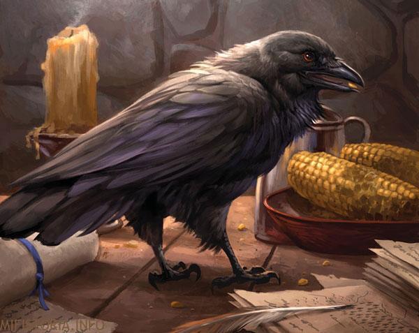 Черный ворон ест - рисунок на mifistoria.info