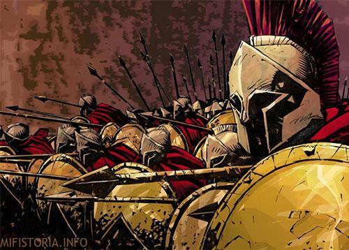 Спартанцы - рисунок на mifistoria.info