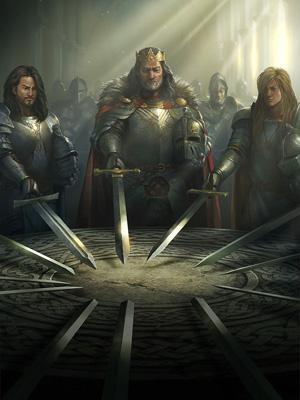 Король Артур с мечом Экскалибур за рыцарским столом - картинка на mifistoria.info