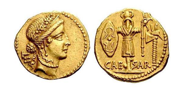 Золотые монеты с изображением Юлия Цезаря