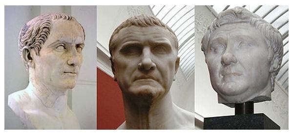 Цезарь, Красс, Помпей