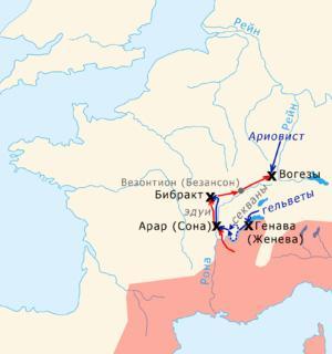 Поход в 58 году до н. э. на карте
