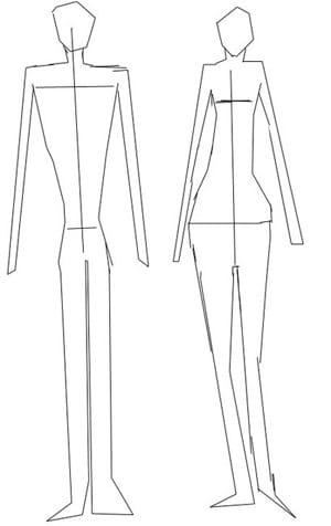 Схематическое изображение мужской и женской фигуры
