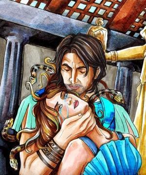 Посейдон и Meduza Gorgona в храме Афины