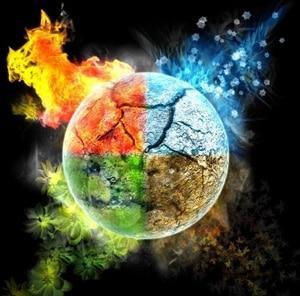 4 стихии: огонь, вода, земля и воздух