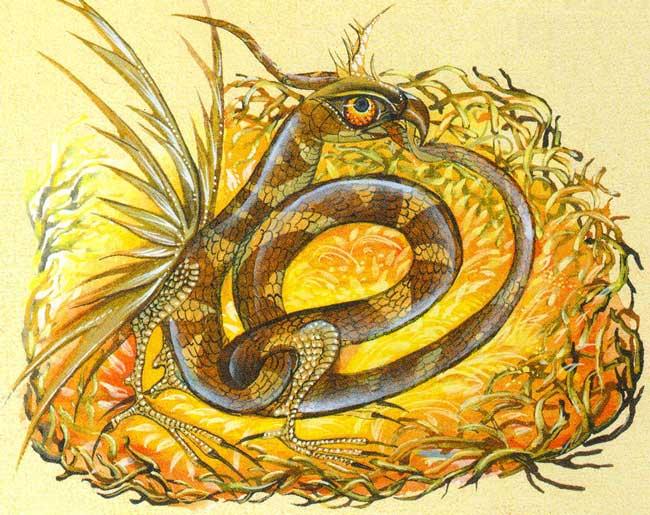 В виде желтой змеи