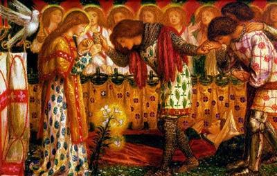 Картина «Как сэру Галахаду, сэру Борсу и сэру Персивалю помогали в поисках Святого Грааля», Данте Габриэль Россетти.