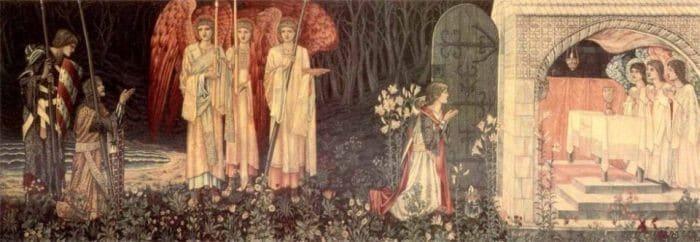 Картина «Как Галахад, Борс и Персиваль достигли Грааля», Э. Берн-Джонс.
