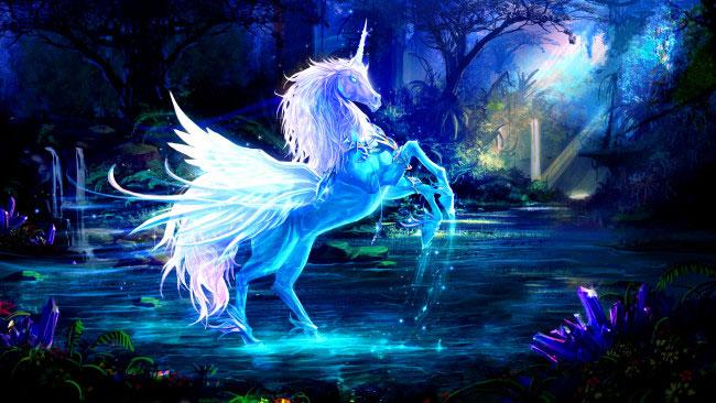 Конь с рогом и крыльями (крылатый единорог).