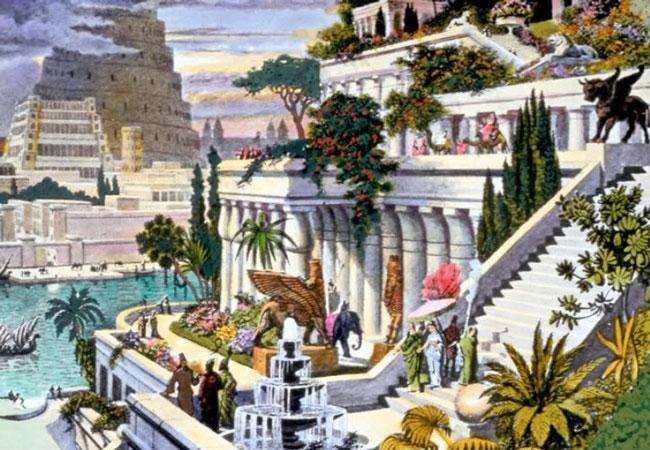 Висячие сады Вавилона. Изображение на гравюре 19 века.