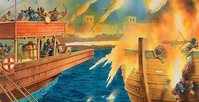 Сражение с использованием древнегреческого огня