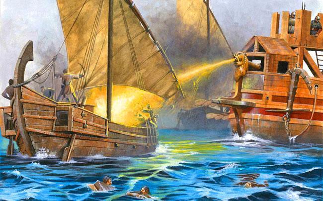 Византийский огонь, применяемый во время сражения