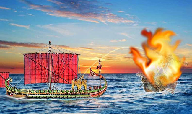 Принцип действия греческого огня во время войны