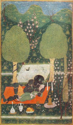 Иллюстрация «Махан в объятиях Ифрита» к поэме «Хамса», 1648 г.