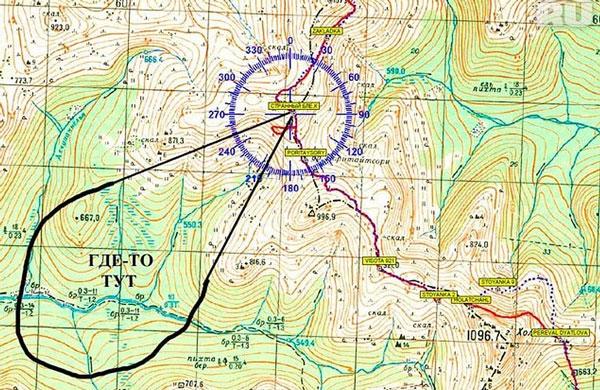 Перевал Дятлова на карте