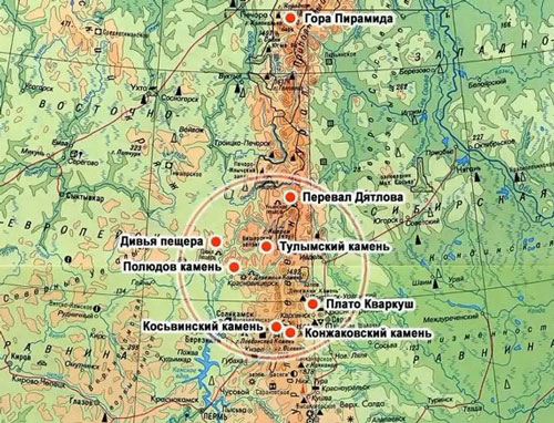 Перевал Дятлова на карте Свердловской области фото на mifistoria.info