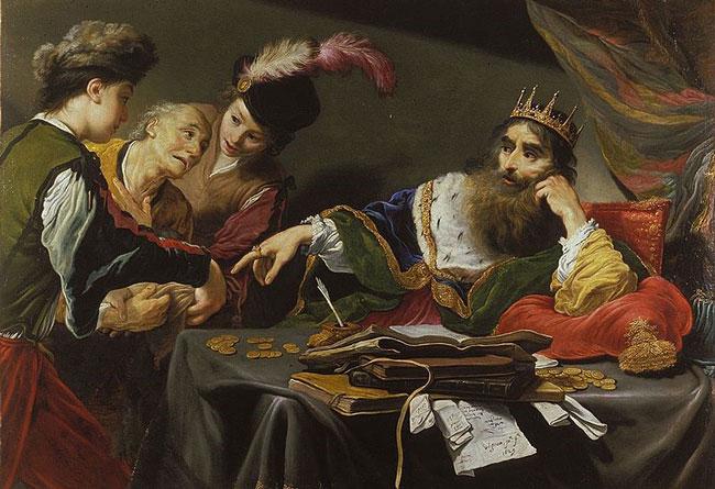 Картина «Царь Крез получает дань», Клод Виньон.