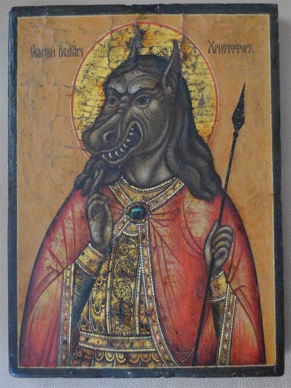 Икона с изображением Святого Христофора