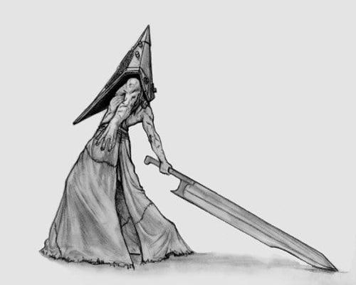 Пирамидоголовый: рисунок карандашом