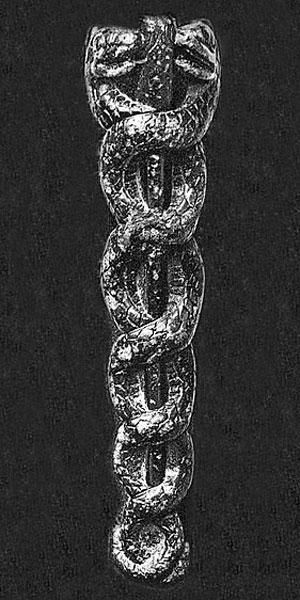 Украшение в виде Кадуцея, найденное на вазе шумерского царя