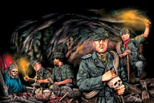 Иллюстрация Третьего Рейха в поисках хрустального черепа