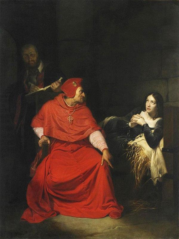 Картина «Допрос Ж. д'Арк кардиналом Винчестера» П. Деларош