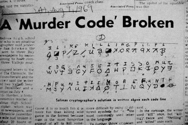 Шифровка маньяка, опубликованная в газете