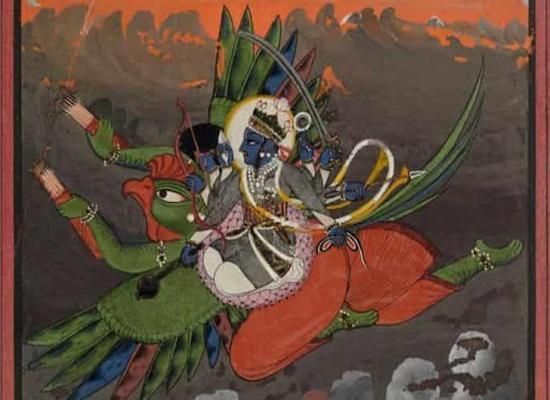 Нага сражается с Гарудой