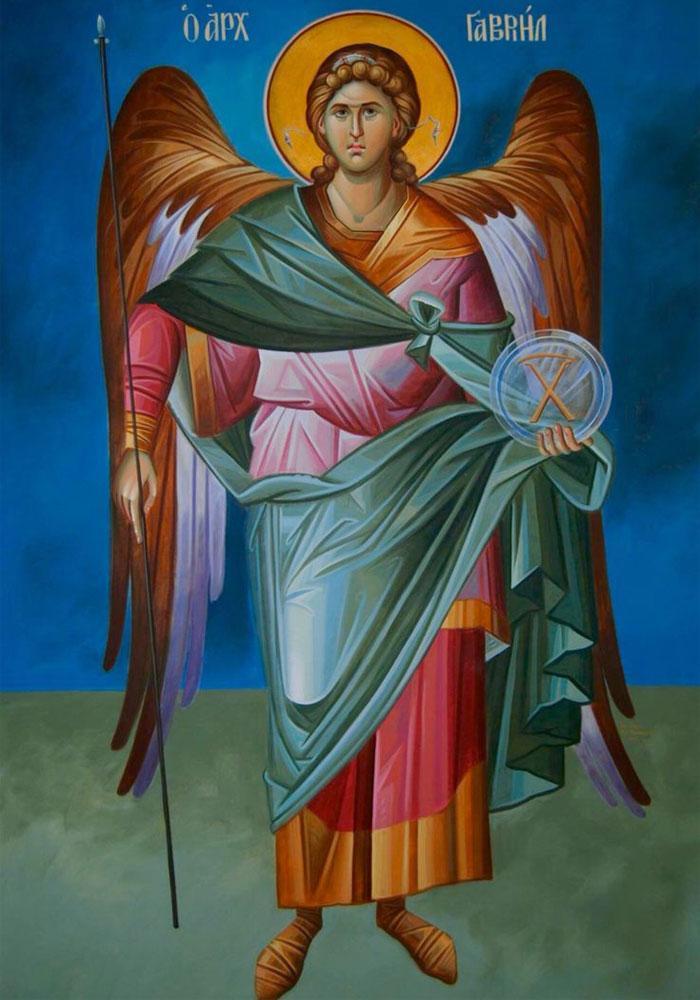 Святой Гавриил с копьем и зеркалом