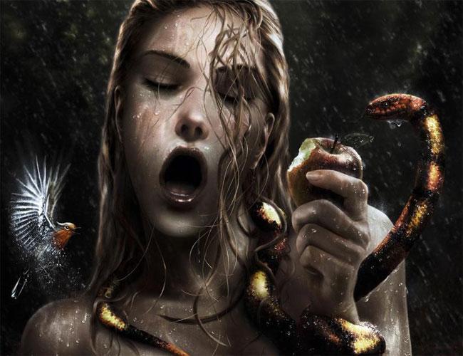 Сатана в образе змея-искусителя