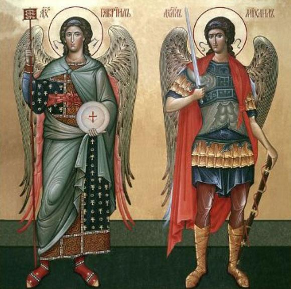 Архангел Михаил архистратиг (справа) и архангел Гавриил (слева): различие в образах