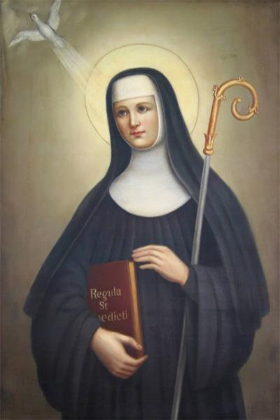 Картина на религиозный мотив с изображением сестры святого Бенедикта, Сколастики. Белый голубь – ее несменный спутник и посланник воли канонизированной праведницы