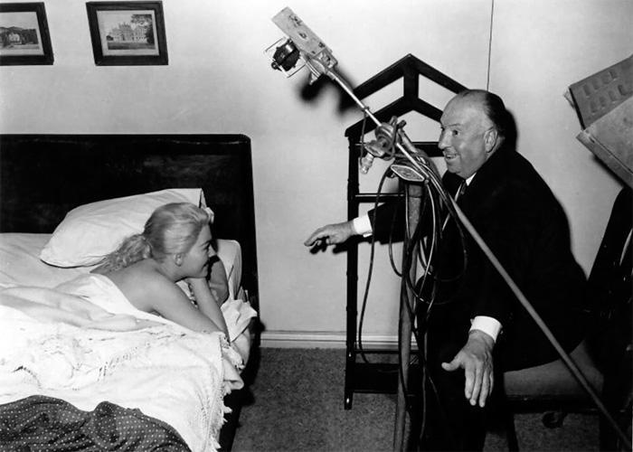 Alfred Hitchcock на съемках