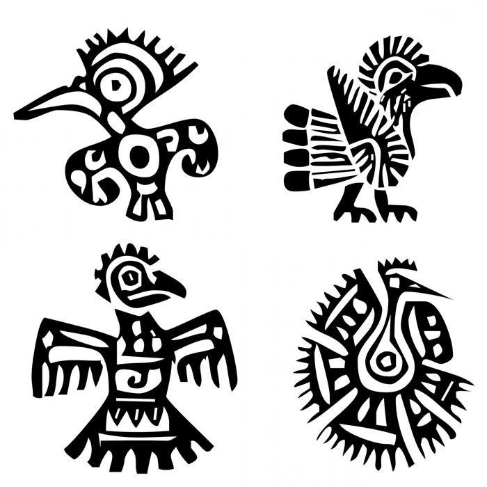 Древние индейские татуировки в виде птиц (голубей, коршунов, орлов)