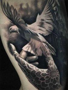 птица голубь тату