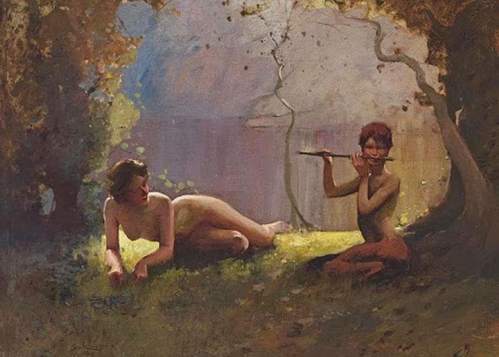 Картина «Фавн и нимфа», написанная Сиднеем Лонгом в 1910 году
