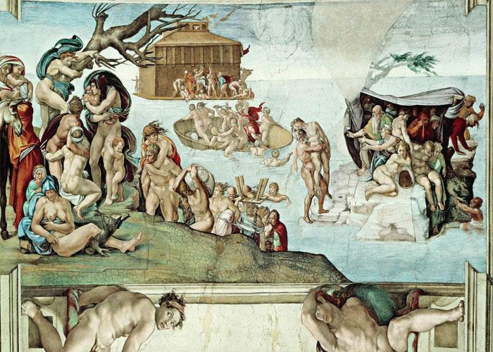"""Фреска Микеланджело """"Всемирный потоп"""" 1512 г."""