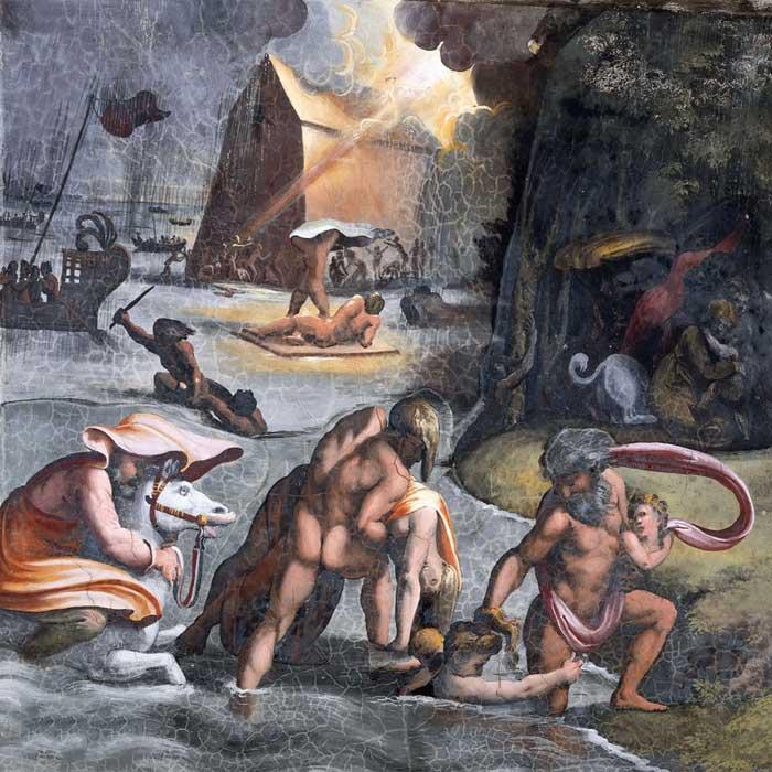 """Фреска Рафаэля Санти """"Всемирный потоп"""" 16 век"""