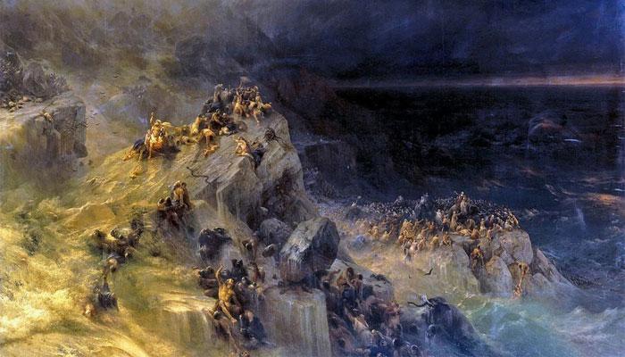 """Фрагмент картины Айвазовского """"Всемирный потоп"""" 1864 г."""