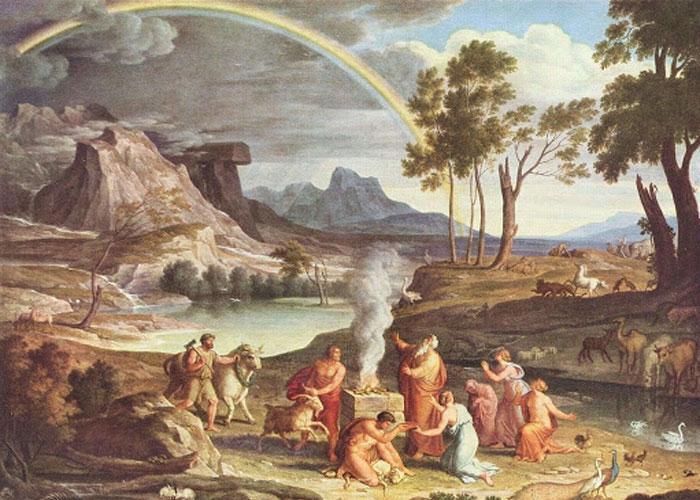 «Пейзаж с жертвоприношением Ноя», И. А. Кох, 1803. Государственная галерея, Франкфурт-на-Майне