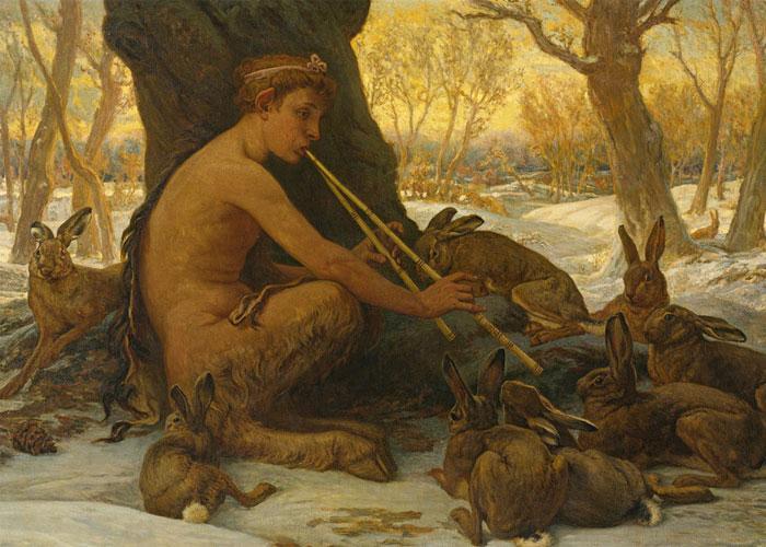 """Элиху Веддер """"Молодой Марсий очаровывает зайцев"""" 1878 г."""