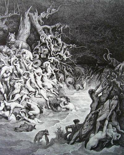 Иллюстрация, исполненная Гюставом Дюре о разрушении мира водой
