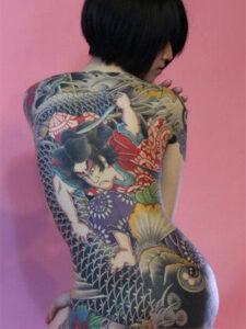 женское тату якудза
