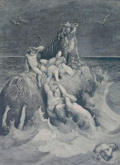 Сцена потопа, изображённая Гюставом Дюре
