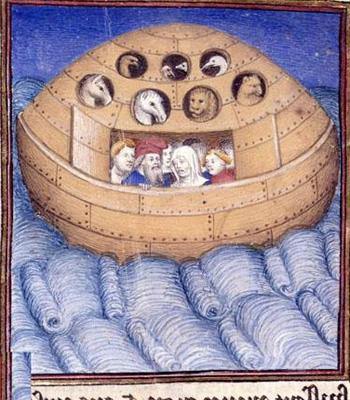 Картина под названием «Ной с семьёй в ковчеге», французский манускрипт начала XV в.
