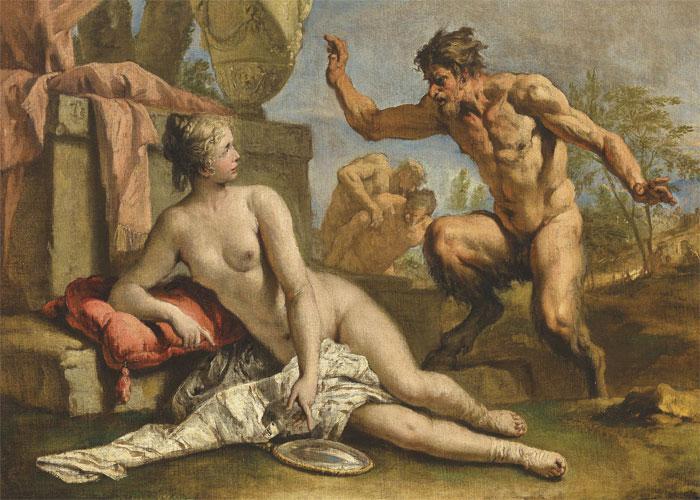 Сатир соблазняет нимфу
